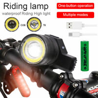 COB LED Bicycle Bike Lights USB Rechargeable Headlight Front Rear Tail Lamp Set