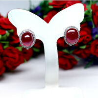NATURAL 10 X 12 mm. OVAL RED RUBY & WHITE CZ EARRINGS 925 STERLING SILVER