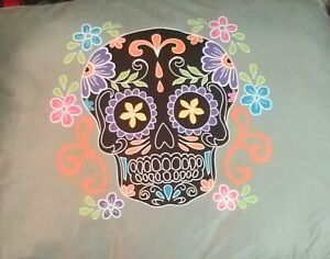 Day of The Dead Sugar Skull Design Pet Pillow Bed & Tough Chew Toy 36/27/4 Soft