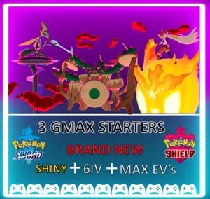 Pokemon Sword & Shield Shiny 6IV GMAX STARTERS max EVS *FAST DELIVERY*