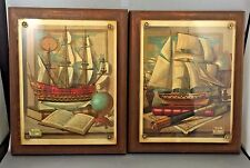 Pair Of Nautical Prints Mounted Signed Charles Cerny 1959