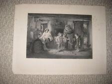 ANTIQUE 1870 VICTORIAN ART GRANDMOTHER CHILDREN WOMEN FASHION ENGRAVED PRINT NR