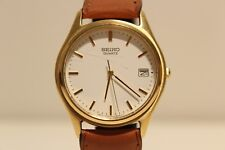 "VINTAGE NICE CLASSIC JAPAN GOLD PLATED MEN'S QUARTZ WATCH ""SEIKO"" 7N42-6A20"