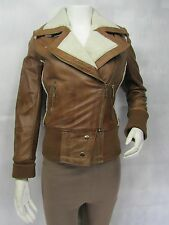Ladies Tan Napa Leather Fur Lined Slim Tight Short Fitted Biker Jacket Bike