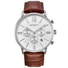 Infinity SP 01 Pearlwhite + Brown Men's Classic Chronograph Watch Brown Leather