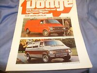 1978 Dodge Sportsman Wagon Van Truck Brochure nice shape !  / f8