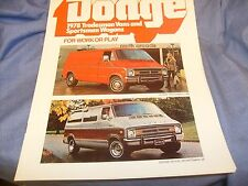 1978 Dodge Sportsman Wagon Van Truck Brochure nice shape !  / f8