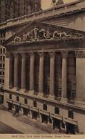 EARLY 1900's VINTAGE NEW YORK STOCK EXCHANGE, BROAD STREET POSTCARD - UNUSED