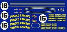 #16 Penske-Hilton Sunoco Camaro 1967 1/32nd Scale Slot Car Waterslide Decals