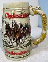 BUDWEISER CLYDESDALES Ceramic / Glass Beer Stein - Nice Original Condition