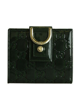 Gucci D Ring Green Guccissima Patent Leather Snap Wallet