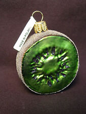 NOS Blown Glass Xmas Tree Ornament Kiwi Tropical Fruit Handmade Poland Polish