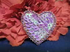 SEQUIN SEED BEADED 1 INCH HEART APPLIQUE 2216-G