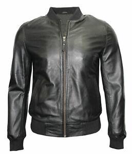 Mens Real Leather Jacket Black Vintage Retro Cafe Racer Soft Spanish Leather New