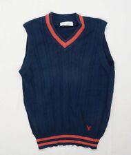 Lyle & Scott Mens Size XL Cotton Striped Blue Jumper