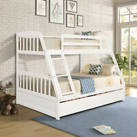 Wood Twin over Full Bunk Bed Frame w/ 2 Storage Drawers Bed Platform Furniture