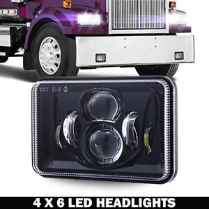 "DOT 4x6""120W LED Headlight DRL Hi&Lo Square Sealed Beam Projector Driving Lamp"
