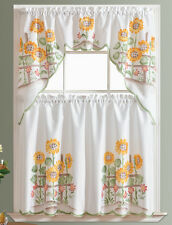 READY IN US 3pcs Kitchen curtain set spray painted by hand NEW SUNFLOWER design