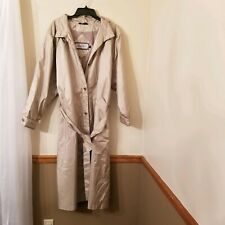 British Mist Vintage Trench Coat Women Size  16 Long Raincoat Taupe Beige Dress