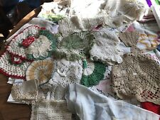 Vintage Linen & Textiles Lot Doilies, Embroidered pcs,dish towels, Tablecloth