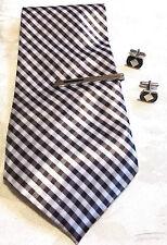 Set Cravate Satin Gris,Blanc;Pince à Cravate;Bouton Manchette Métal Blanc N°3191