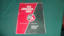 british american oil lubrication guide 1959 BA sign cadillac impala olds buick