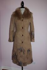 NEW Womens INAN Leather Fur Shearling Limited Paint Printed & Beaded Coat Small