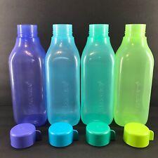 Tupperware Square Eco Water Bottles Large Set of 4 Twist Top Purple Green Blue