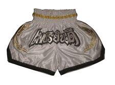 KickThaiboxhose Muay Thai Shorts 100%Satin New Design Top Qualität Weiß Gr.M-L