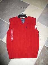 NWT Boys, 2/2T, Ralph Lauren POLO Red Cabled Sweater Vest, Christmas Holidays!