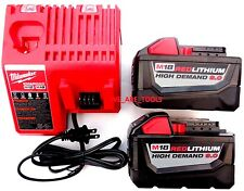 (2) New M18 Milwaukee 48-11-1890 9.0 AH Batteries, (1) Charger 18 Volt 18V Red
