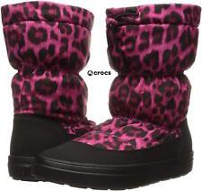 NWB Sz. 8 CROCS Women's Lodge Point Pull-On Snow Winter Boots Pink CHEETAH Print