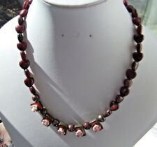 """Red Marcasite & Enamelled Metal Beads with Flowers 16"""" Threaded Necklace"""