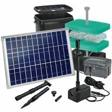 Solar Teichfilter Gr. L-3 - Teich - 3.000 L mit Akku LED Solarpumpe Pumpenset