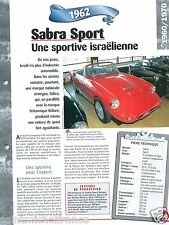 Sabra Sport 4 Cyl. Ford 1962 Israel Car Auto Retro FICHE FRANCE