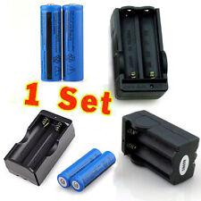 2PC 18650 3.7v 3000mAH Rechargeable Li-ion BRC Battery+18650 Charger-Deep Blue