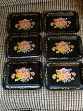 """6 Small Vintage Metal Enamel Tole Toleware Trays Floral Roses 6 5/8"""" x 4 3/4"""""""