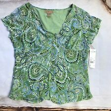 NWT Notations Women's Green Paisley Blouse - XL - Size Button Down