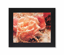 Pink Rose Flower with Rain Drops and Pearls Photo Wall Picture Black Framed