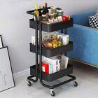 Storage Trolley Cart 3 Tier Metal Rolling Utility Organizer Rack Craft Art Cart