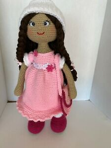 "Handcrafted Crocheted Doll 22"" Display Doll with Handbag"