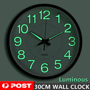 12'' Luminous Wall Clock Glow In The Dark Silent Quartz Indoor Home Modern Clock