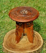 Decorative Carved Wood Plant Stand with Floral Inlay Design