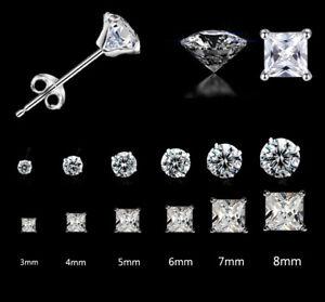 Solid 925 Sterling Silver Stud Earrings Cubic Zircon Crystal Stud Earrings