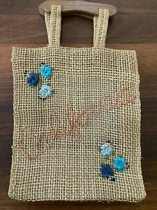 Boho Woven Straw Tote Bag w/ Wood Handles Bohemian Stitched California & Florals
