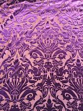 Purple Damask Burnout 4 Way Stretch Velvet Fabric - BTY - 60