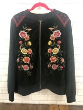 692f8cd57b3 Torrid 3 BomberJacket Black Red Floral Embellished Velour Zipper Front New