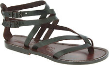 Handmade womens flat ankle strap gladiator thong sandals in dark brown leather