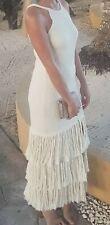 Zara Cream Tassle Fringe Midi Maxi Split Dress L 14 BNWT