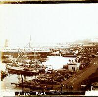 Algeria Algeri Il Port c1910, Foto Stereo Vintage Placca Lente VR7L6